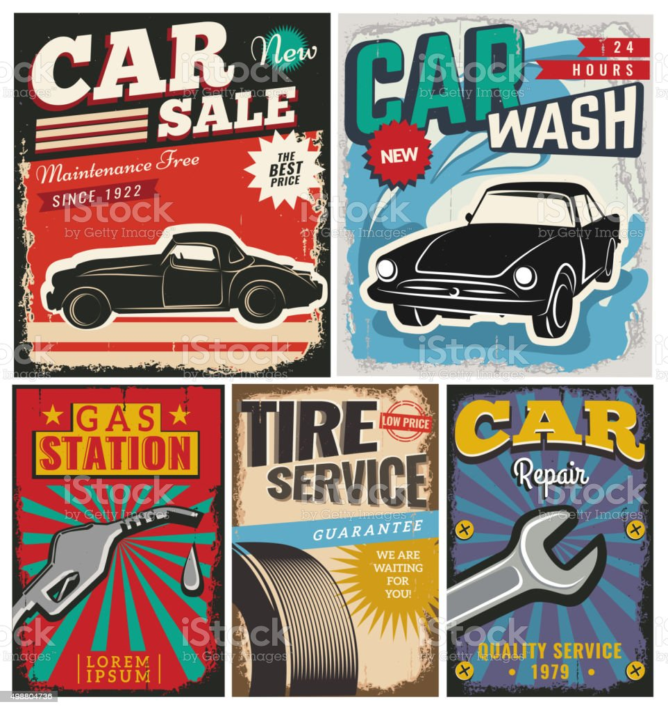 Vintage Set Of Vector Cars For Advertising Stock Vector Art & More ...