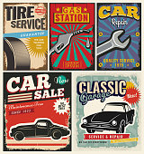Vintage retro style. Set of vector cars flyer template. Garage, tire service, sale, wash, repair and auto service.