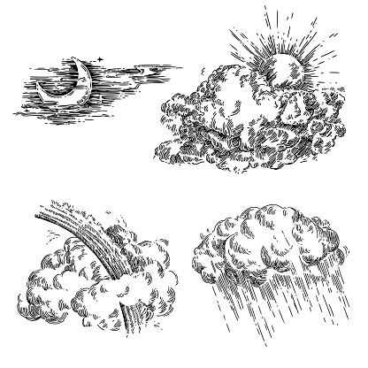 Sun, clouds, moon, rain, rainbow and storm. Sketch. Engraving style. Vector illustration.