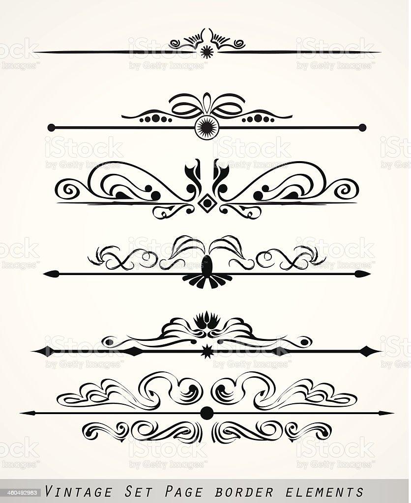 vintage set page border element vector art illustration