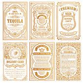 Vintage golden vector set retro cards. Template greeting card border wedding invitation. Line calligraphic frames. Floral engraving design label advertising place for text. Flourish ornate background