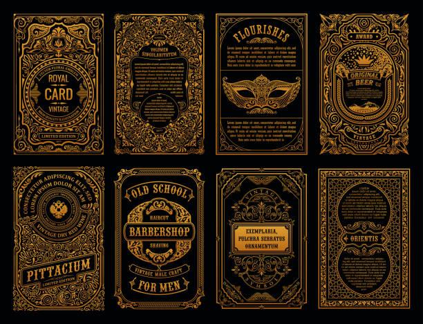 빈티지 레트로 카드를 설정합니다. 템플릿 카드 인사말 결혼식 초대장입니다. 선 서 예 프레임 - 바로크 양식 stock illustrations