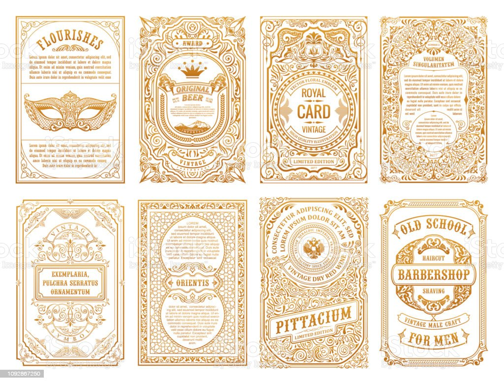 Vintage set retro cards. Template greeting card wedding invitation. Line calligraphic frames royalty-free vintage set retro cards template greeting card wedding invitation line calligraphic frames stock illustration - download image now