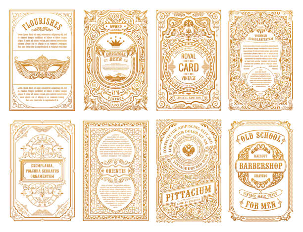vintage set retro cards. template greeting card wedding invitation. line calligraphic frames - retro and vintage frames stock illustrations, clip art, cartoons, & icons