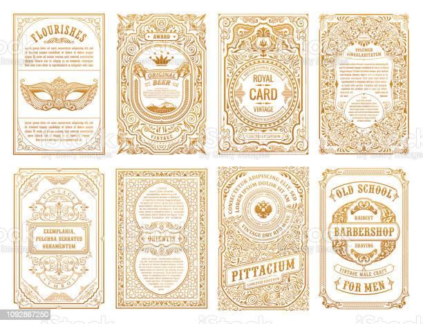 Vintage Set Retro Cards Template Greeting Card Wedding Invitation Line Calligraphic Frames - Immagini vettoriali stock e altre immagini di Angolo - Descrizione