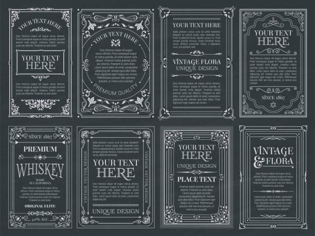 vintage zestaw retro karty. szablon kartki z życzeniami zaproszenie ślubne. ramki kaligraficzne linii - ozdobny stock illustrations