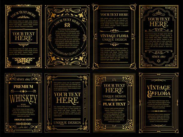 ヴィンテージセットレトロカード。テンプレートグリーティングカードの結婚式の招待状。ラインの書起文字フレーム - 飾り点のイラスト素材/クリップアート素材/マンガ素材/アイコン素材