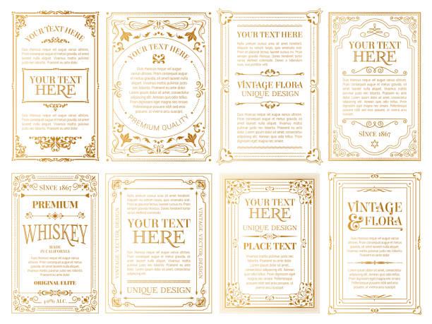 빈티지 세트 복고풍 카드입니다. 템플릿 인사말 카드 결혼식 초대장입니다. 라인 서예 프레임 - 오래된 stock illustrations