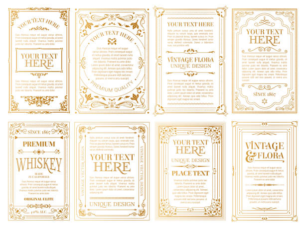 ilustrações de stock, clip art, desenhos animados e ícones de vintage set retro cards. template greeting card wedding invitation. line calligraphic frames - vintage