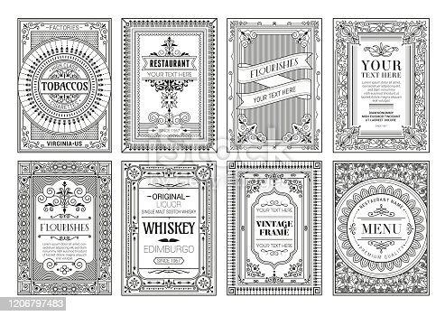 Vintage set retro cards. Template greeting card wedding invitation. Line calligraphic frames stock illustration