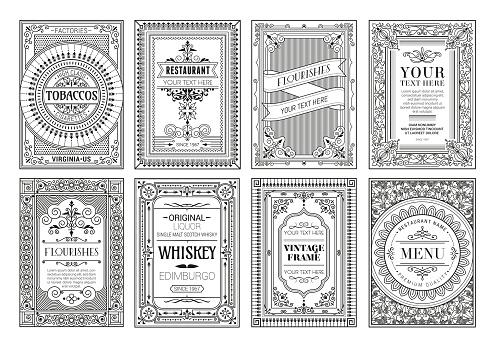 Vintage set retro cards. Template greeting card wedding invitation. Line calligraphic frames stock illustration
