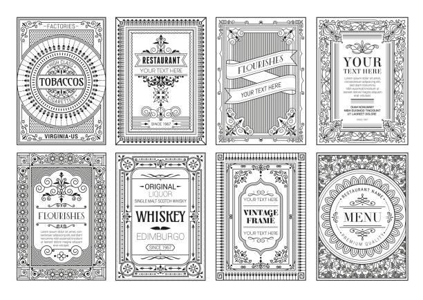 vintage-set retro-karten. vorlage grußkarte hochzeitseinladung. linie kalligraphische rahmen stock-illustration - altertümlich stock-grafiken, -clipart, -cartoons und -symbole
