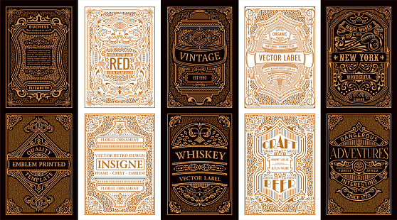 Vintage set retro cards. Template greeting card wedding invitation. Line gold calligraphic frames