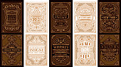istock Vintage set retro cards. Template greeting card wedding invitation. Line gold calligraphic frames 1209011923