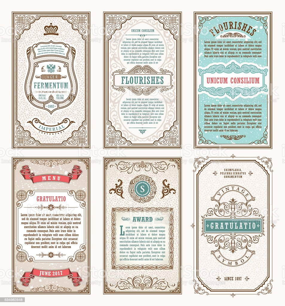 Vintage Set Retro Cards. Template Greeting Card Wedding Invitation. Line  Royalty Free Vintage  Line Card Template