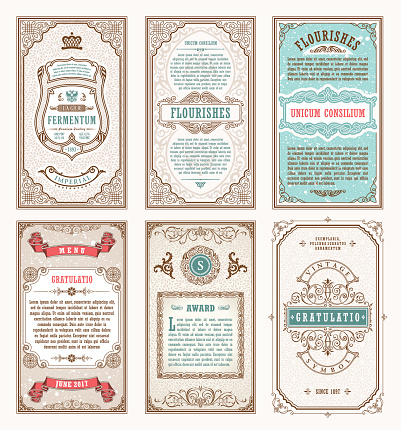 Vintage Set Retro Cards Template Greeting Card Wedding ...