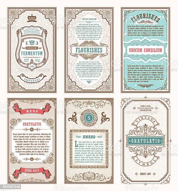 vintage set retro cards template greeting card wedding