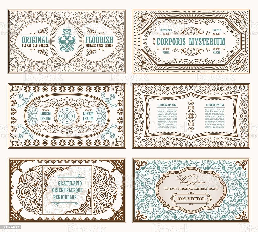 Conjunto De Tarjetas De Retro Vintage Plantilla De Tarjeta De ...