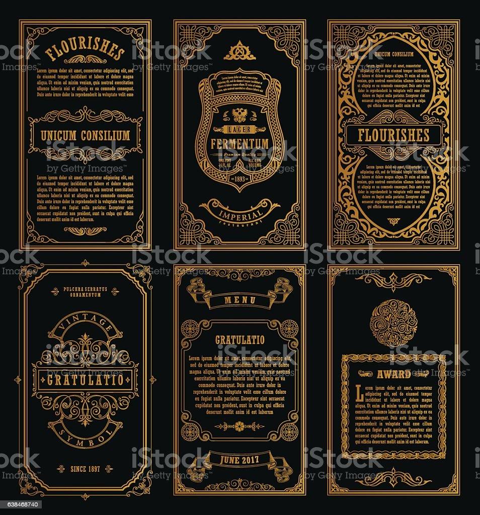 Vintage set retro cards. Template greeting card wedding invitation. Line - 免版稅一組物體圖庫向量圖形
