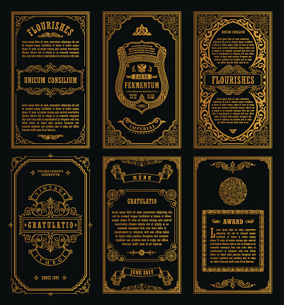 Vintage Set Retro Cards Template Greeting Card Wedding Invitation Line向量圖形及更多一組物體圖片