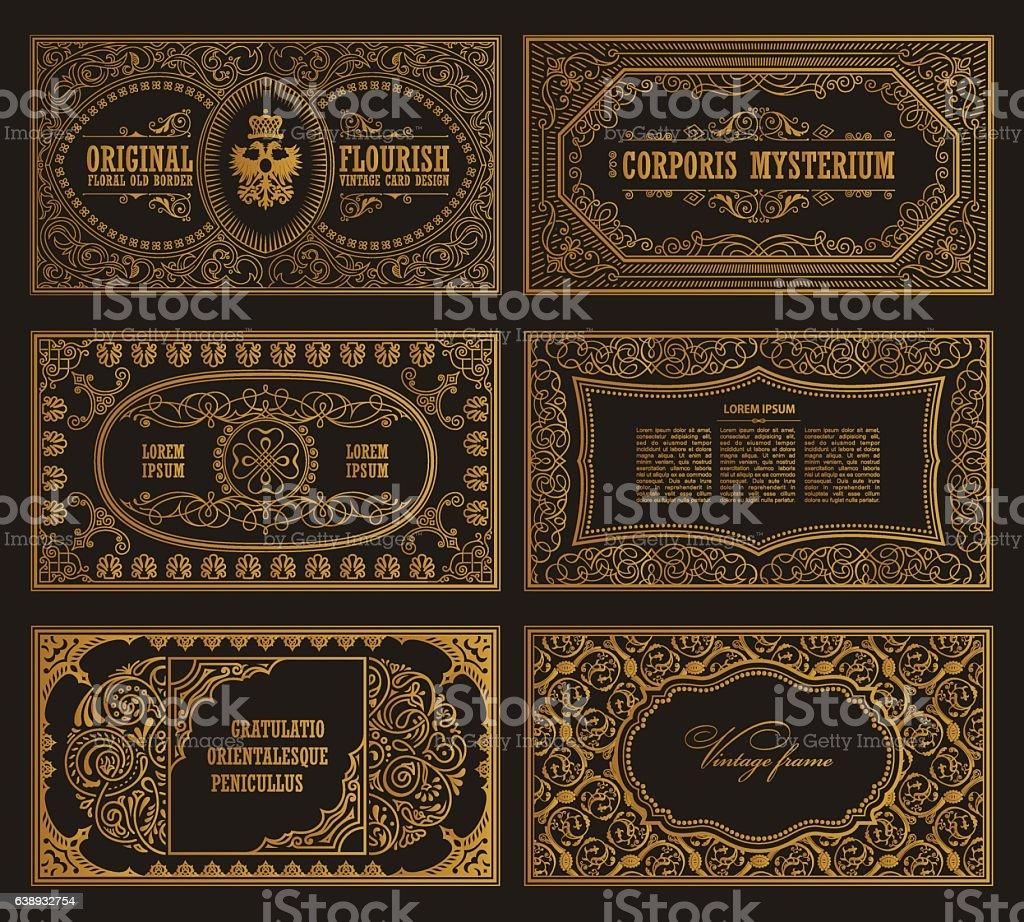 Vintage-set retro-Karten. Vorlage für Grußkarte Hochzeit Einladung. Der Welt – Vektorgrafik