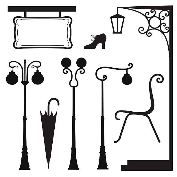 vintage set A set of vintage elements front stoop stock illustrations