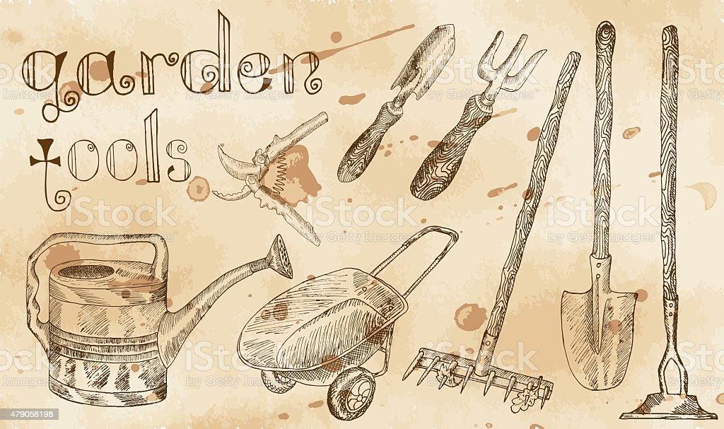 Ilustración de Juego De Herramientas De Jardín Vintage Con ...