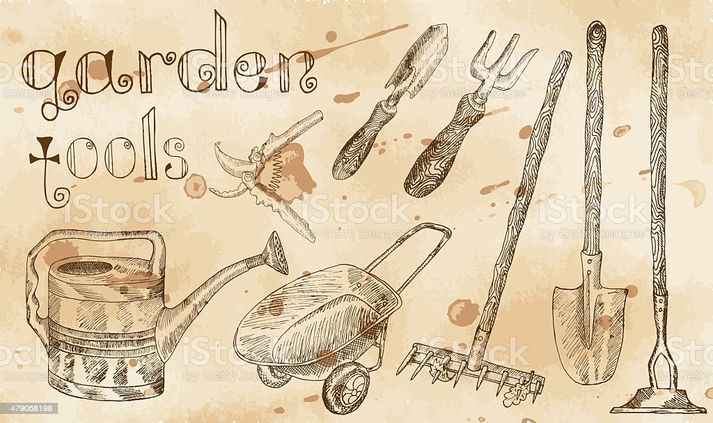 Vintage set with garden tools horizontal vector art illustration