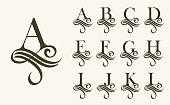 Vintage Set1 . Capital Letter for Monograms and Logos. Beautiful Filigree