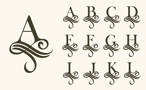 vintage set1 . capital letter for monograms and logos. beautiful filigree - h harfi stock illustrations, clip art, cartoons, & icons