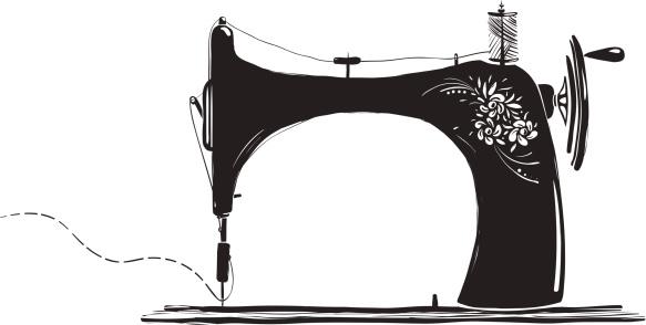 Vintage Sewing Machine Inky Illustration