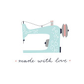 Vintage sewing machine vector illustration on white background. Equipment for tailors and crafters