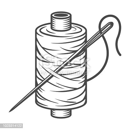 Vintage sewing spool concept with needle and thread in monochrome style isolated vector illustration