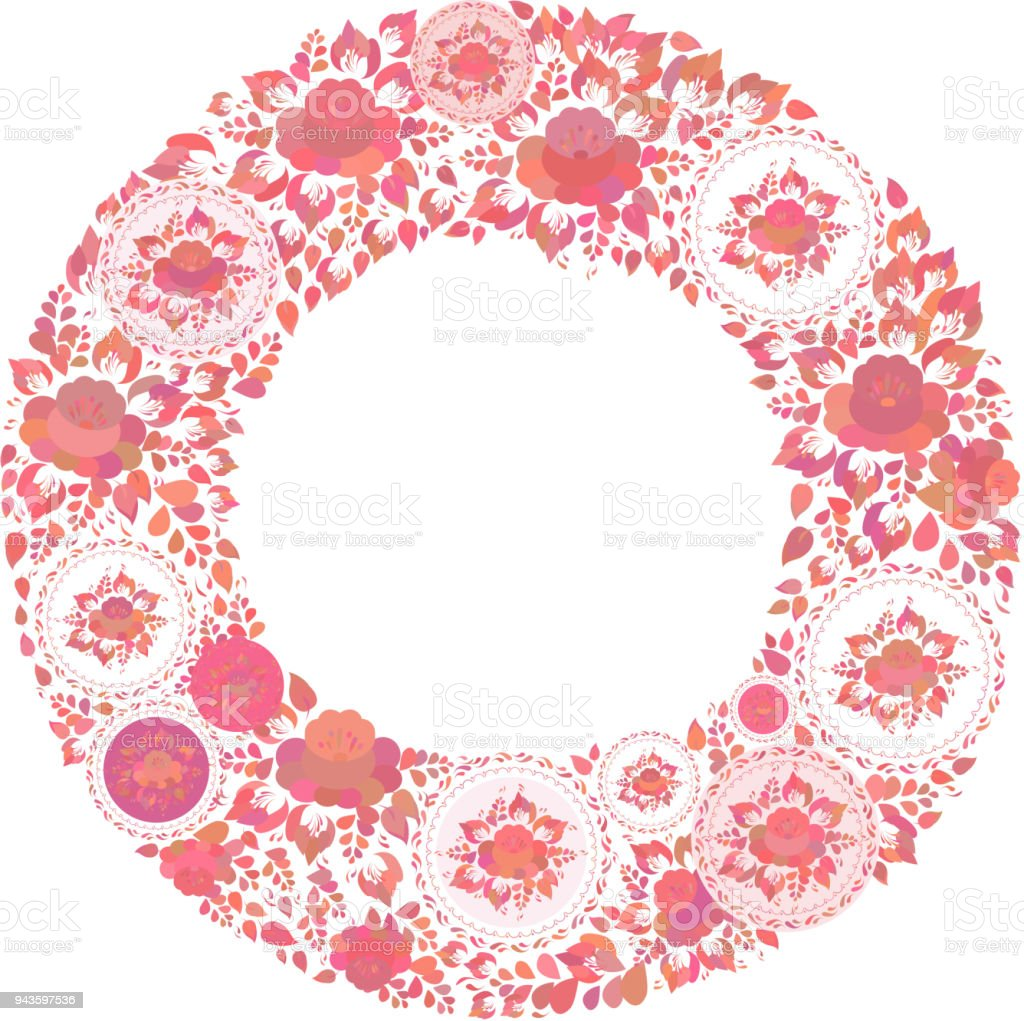 Vintage Shabby Chic Red Orange Flowers And Leaves On White ...