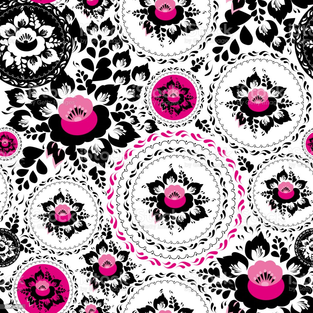 Vintage Shabby Chic Seamless Ornament Pattern Pink Black Flowers