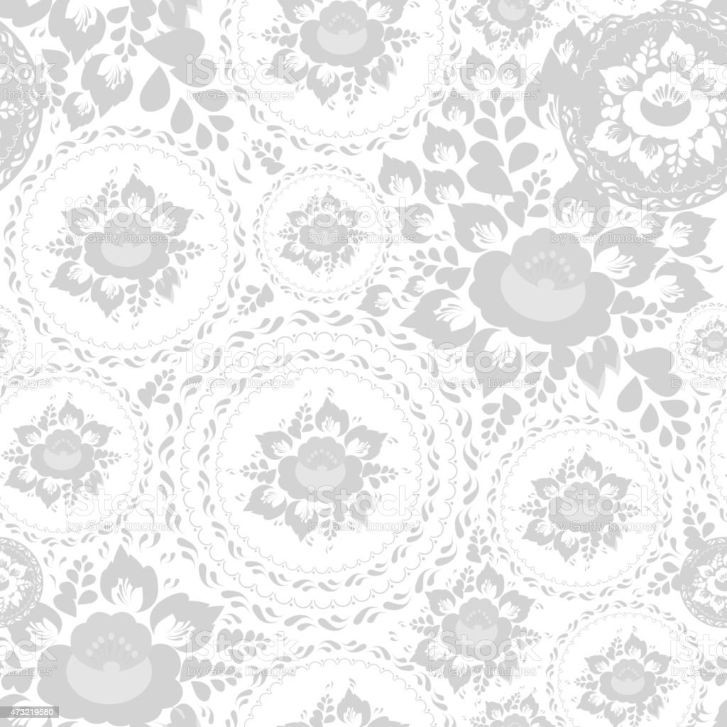 Vintage Shabby Chic Seamless Pattern Flowers Leaves Grey White Background Royalty Free