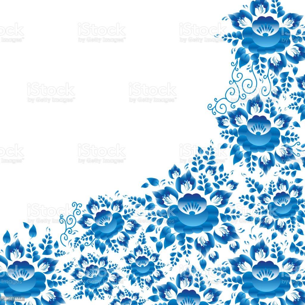 Ilustracion De Vintage Shabby Chic Boda Tarjetas Diseno Plantilla De La Bandera Primavera Romantica Decoracion Pastel Patron Con Flores Azules Y Hojas