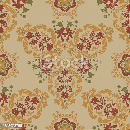 istock Vintage shabby Victorian floral pattern. Seamless vector pattern with grunge and scuffs. Beige,gold color. For wallpaper, ceramics or packaging. 1348023769