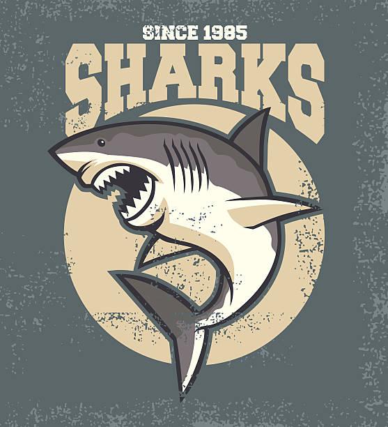 vintage shark mascot vector of vintage shark mascot great white shark stock illustrations