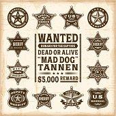Vintage sheriff, marshal and ranger badges set