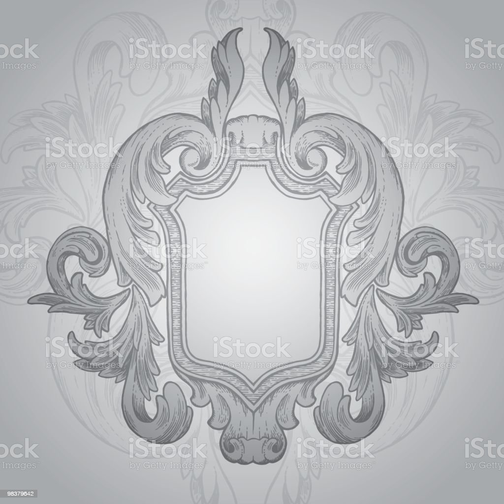 Vintage Shield - Rococo Style royalty-free vintage shield rococo style stock vector art & more images of antique