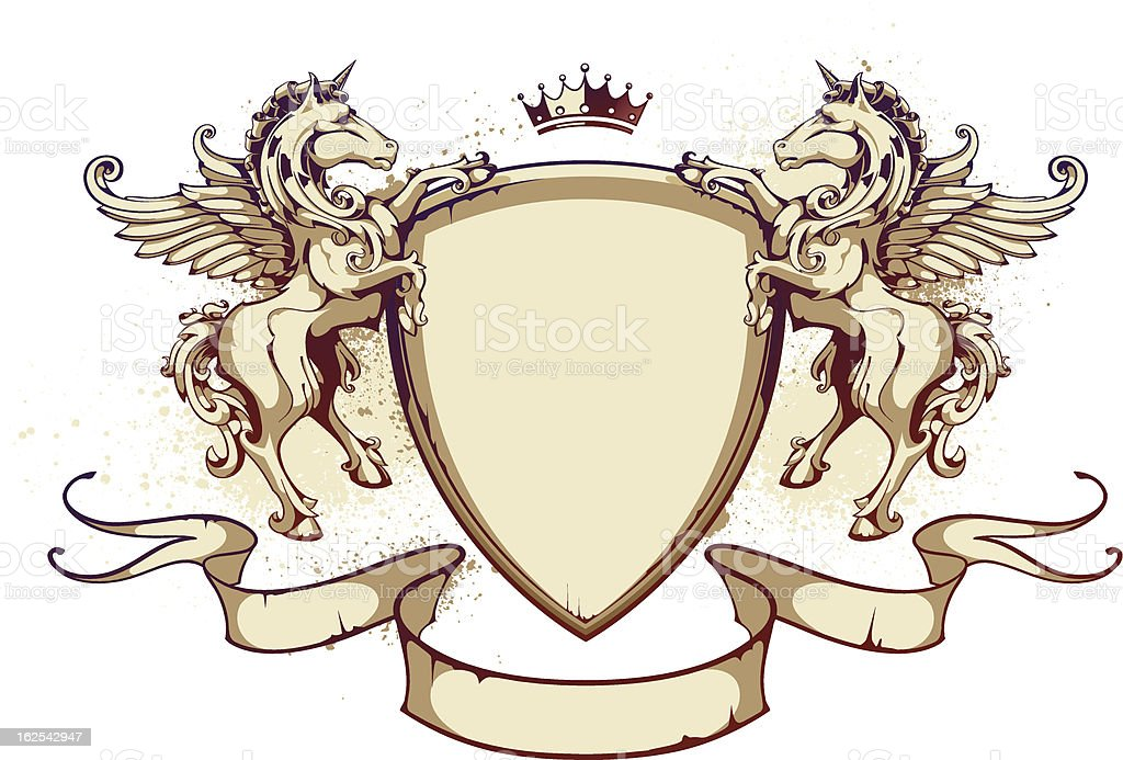 Vintage shield with horses royalty-free vintage shield with horses stock vector art & more images of animal