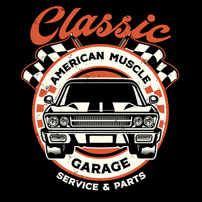 vintage shirt design of american muscle garage