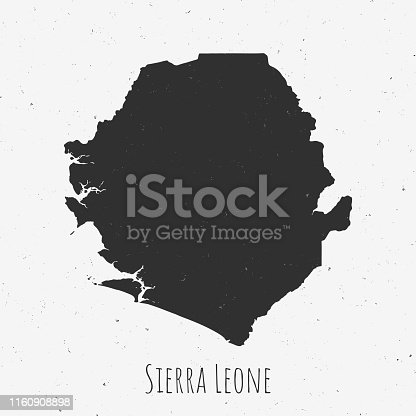 Black and white Sierra Leone map in trendy vintage style, isolated on a dusty white background. A grunge texture is used to have a retro and worn effect. His name is written on the bottom of the image. Vector Illustration (EPS10, well layered and grouped). Easy to edit, manipulate, resize or colorize.