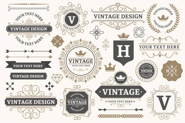 ilustrações de stock, clip art, desenhos animados e ícones de vintage sign frames. old decorative frame design, retro ornate label elements and luxurious vintage borders vector set - vintage
