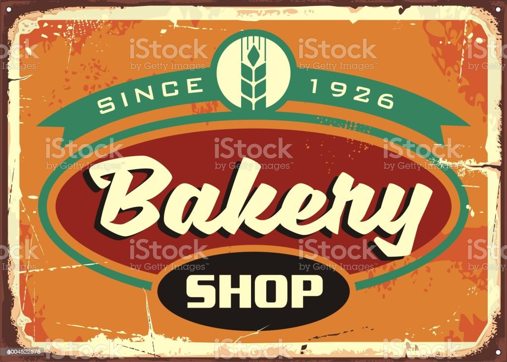 vintage sign template for bakery shop stock vector art more images