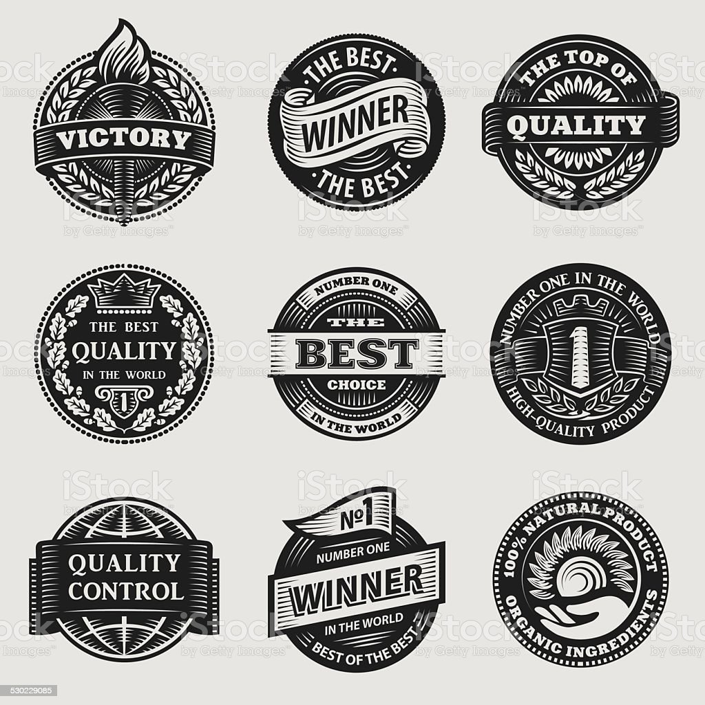 vintage signs vector set vector art illustration