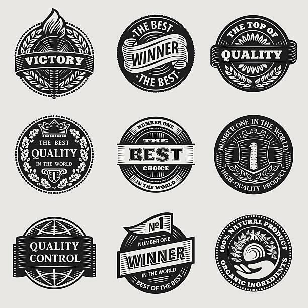 illustrations, cliparts, dessins animés et icônes de ensemble de panneaux vintage illustration - badge drapeaux
