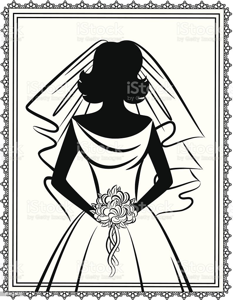 Vintage silhouette of beautiful bride in dress. Vector vector art illustration