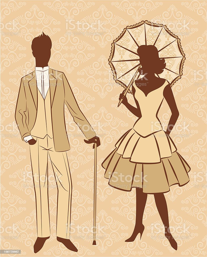 Vintage silhouette of girl and man on ornament background. Vector royalty-free stock vector art